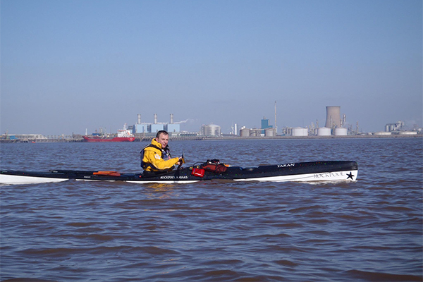 Ken Oliver sea kayaking on the Humber Estuary